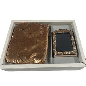 A New Day Mirror & Coin Purse Set - Gold Sequins